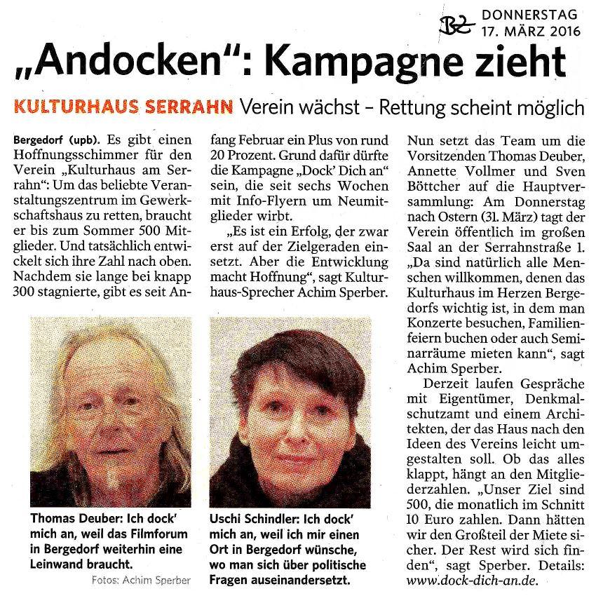 """""""Andocken"""": Kampagne zieht"""